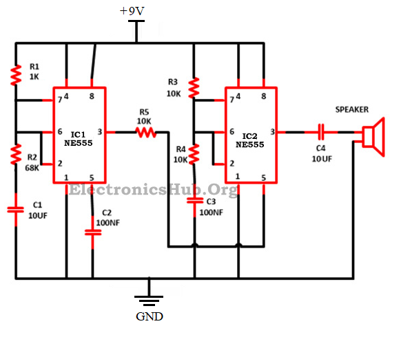 Police Siren Circuit Using Ne555 Timer Ne555 Timer Ic Pin Diagram