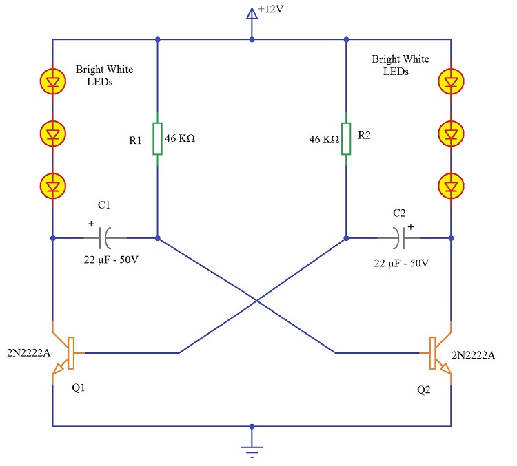 Simple LED Running Lights Circuit led knight rider circuit led running light led chaser circuit light circuit diagram at fashall.co