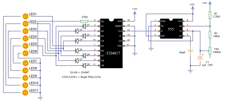 Two Way Running LEDs Circuit led knight rider circuit led running light led chaser circuit 12v led circuit diagram at mifinder.co