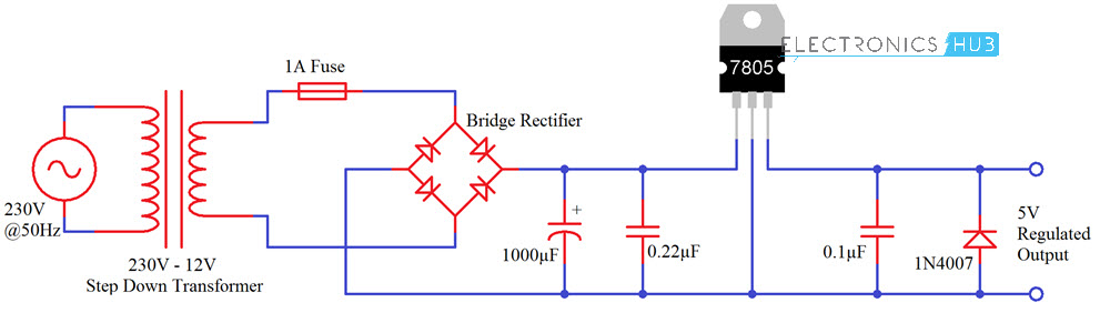 understanding 7805 voltage regulator ic ac source circuit