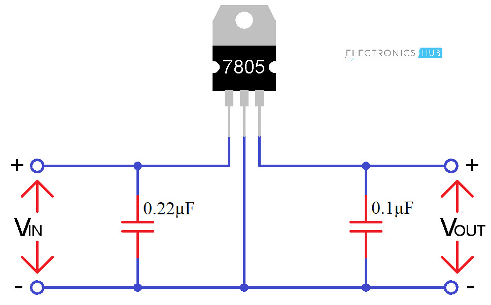 7805 voltage regulator ic circuit working and applications rh electronicshub org
