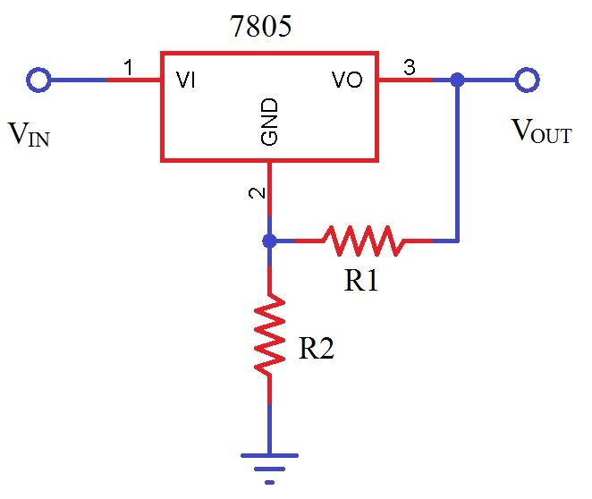 Fuente de alimentación de voltaje variable del principio del regulador de voltaje fijo