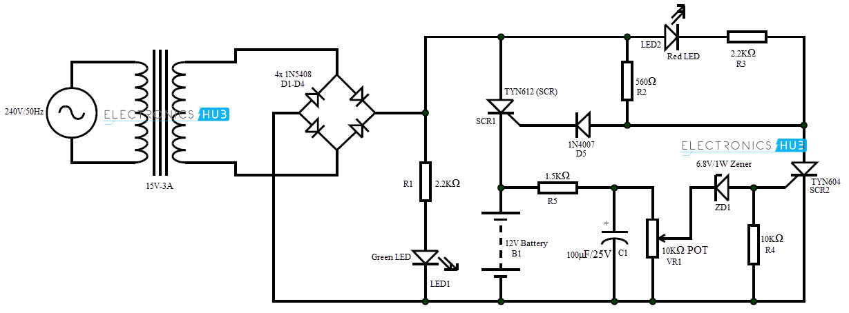 automatic 12v portable battery charger circuit using lm317 rh electronicshub org battery charger circuit design battery charging schematic