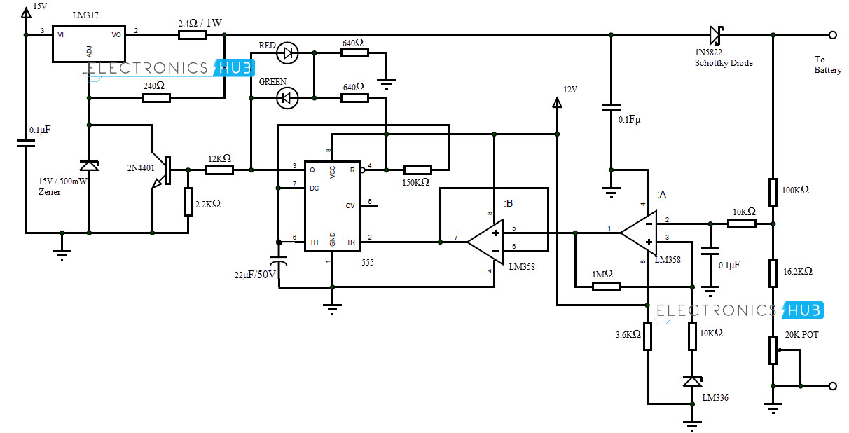 automatic 12v portable battery charger circuit using lm317 rh electronicshub org automatic battery charging circuit diagram automatic battery charging circuit diagram