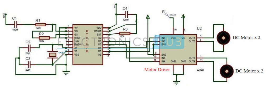 DTMF Controlled Robot without Microcontroller Circuit Diagram