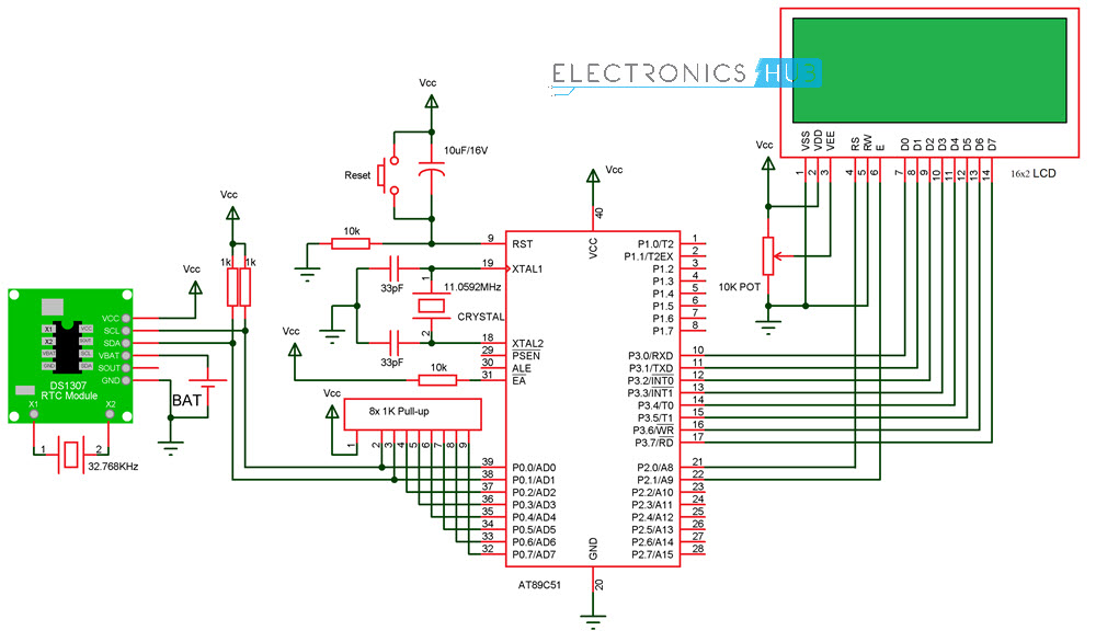 digital clock circuit using 8051 microcontroller and ds12c887 rh electronicshub org