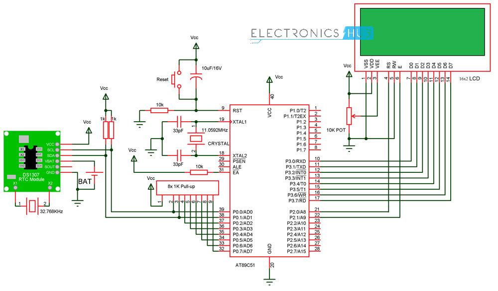 digital clock circuit using 8051 microcontroller and ds12c887circuit diagram digital clock circuit using 8051 and ds1307