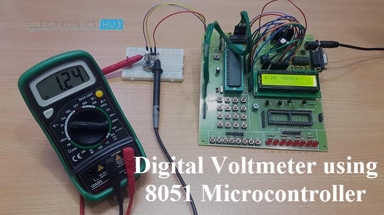 digital voltmeter circuit using 8051 analog to digital converter rh electronicshub org digital ac voltmeter using 8051 voltmeter using 8051 code