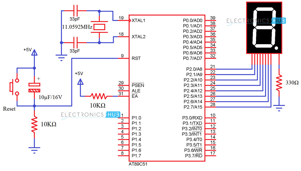 Awe Inspiring Interfacing 7 Seven Segment Display To 8051 Microcontroller Wiring Database Gramgelartorg