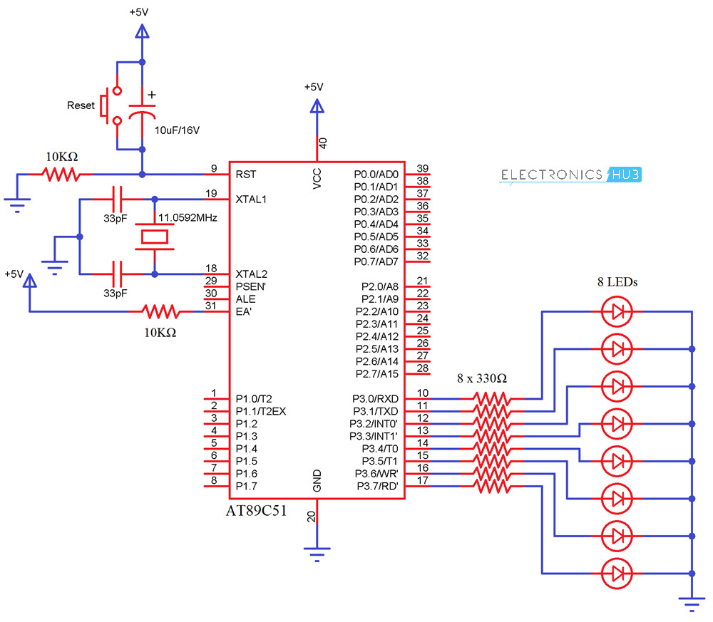 Interfacing LED with 8051 Circuit Diagram