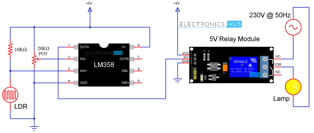 light activated switch circuit using ldr sensorlight activated switch circuit diagram