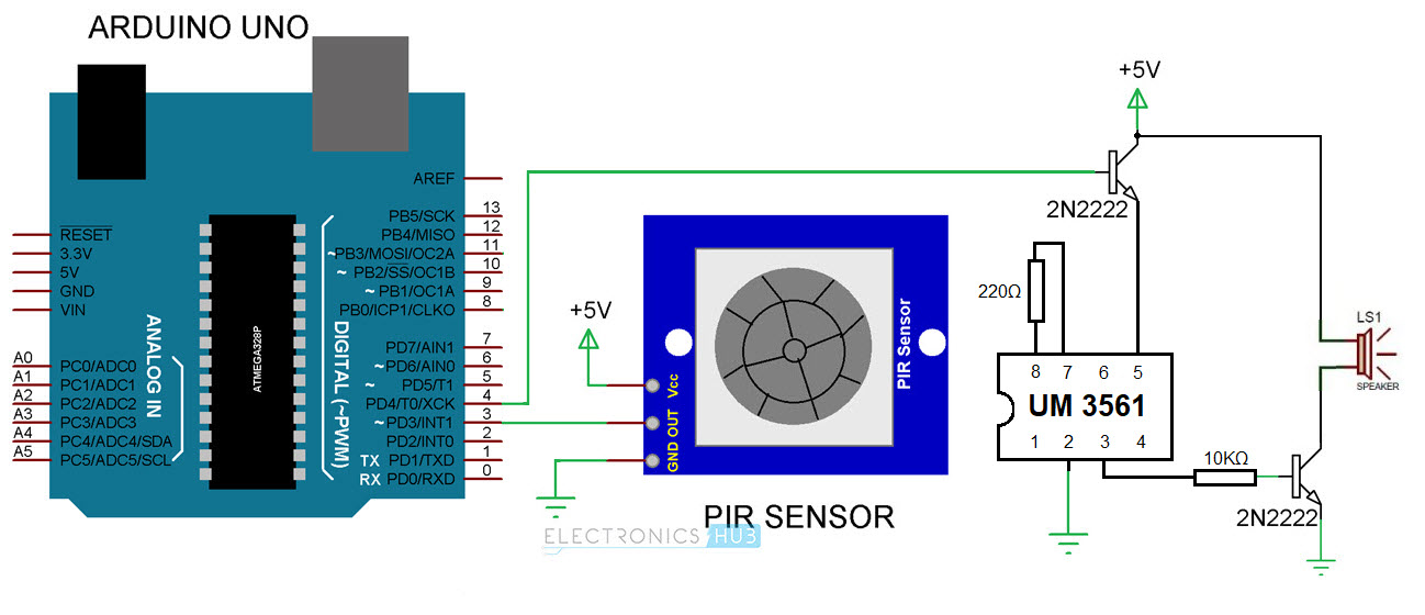 PIR Sensor based Security Alarm System using Arduino Circuit Diagram