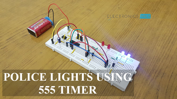 Police Lights Circuit Using 555 Timer