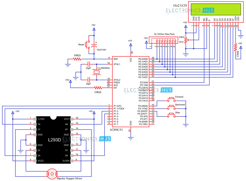 stepper motor interfacing with 8051 microcontroller rh electronicshub org