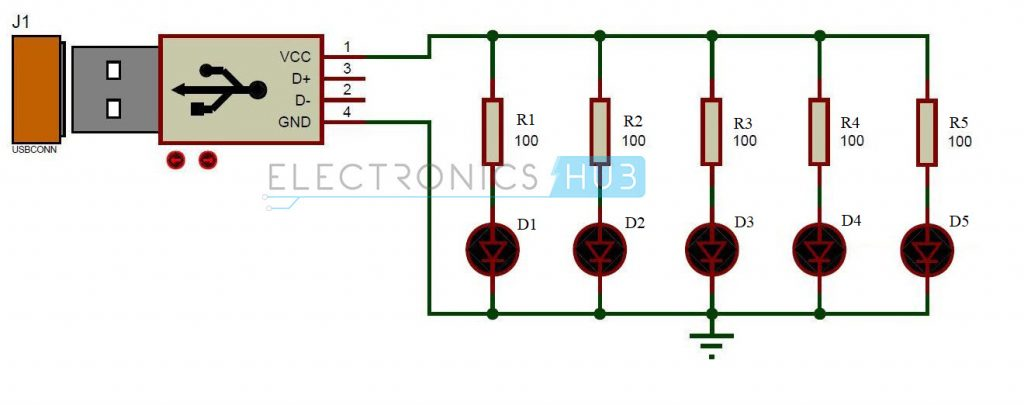 USB LED Lamp Circuit Diagram