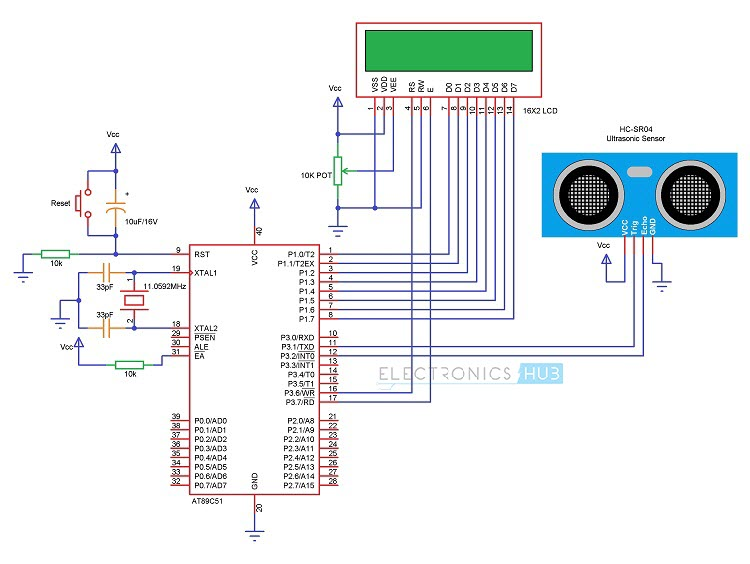 how to make ultrasonic rangefinder project using 8051 microcontrollercircuit diagram of ultrasonic rangefinder using 8051