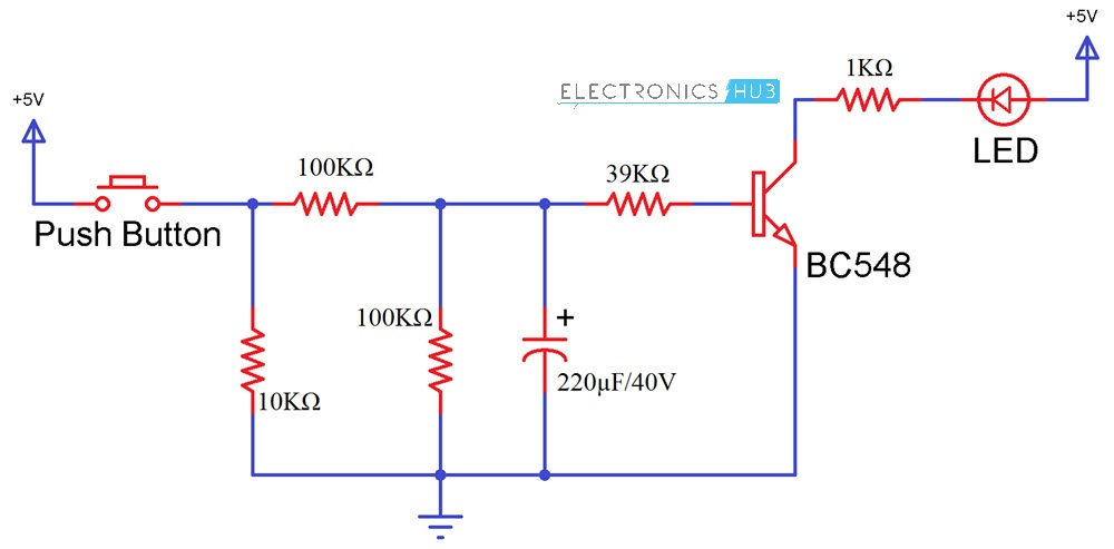 how up down fading led lights circuit works rh electronicshub org  pulsing/fading led circuit diagram
