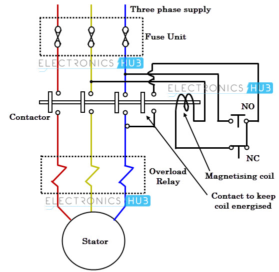 what is motor starter rh electronicshub org 3 phase motor starter wiring diagram pdf 3 phase motor starter schematic