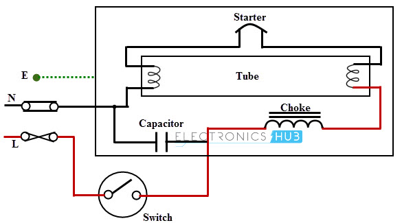 Fluorescent lamp controlled by a one way switch wiring circuit diagram ring circuit diagram \u2022 free wiring diagrams fluorescent fixture wiring diagram at fashall.co