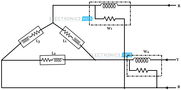 Dc and ac electric power measurement two wattmeters method with delta connected load ccuart