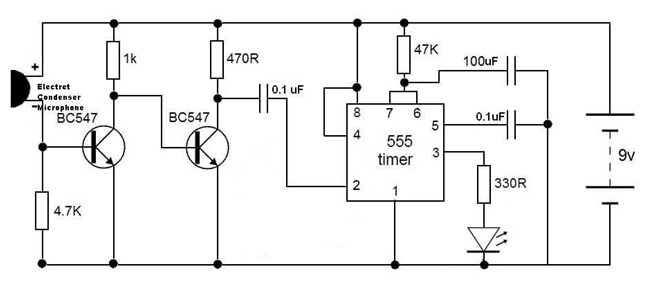 how to make simple clap switch circuit working rh electronicshub org clap switch circuit diagram using 555 clap switch circuit diagram using transistor