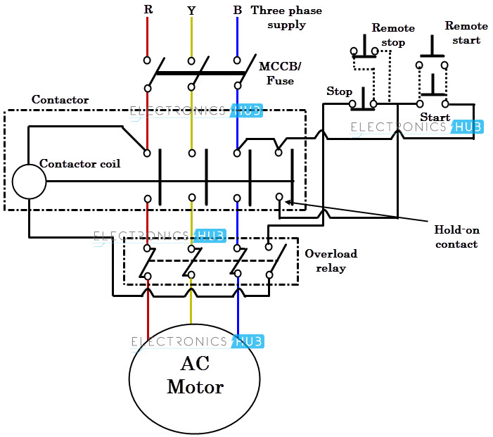 DOL starter wiring diagram direct online starter dol starter 3 phase contactor with overload wiring diagram at crackthecode.co