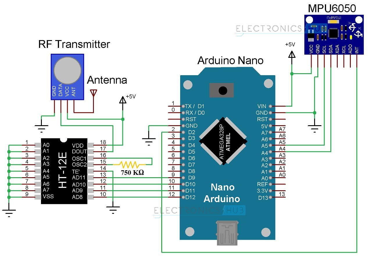 Hand Gesture Controlled Robot Using Arduino Wireless Communication Circuit Diagram Image 11