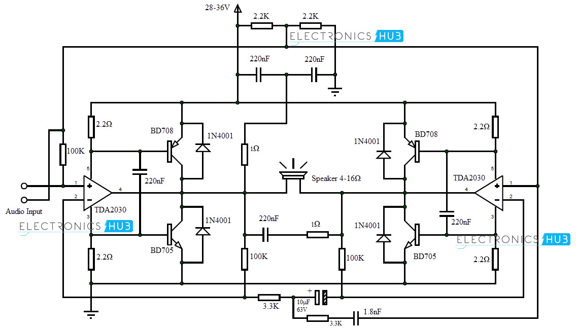 200watt audio amplifier rh electronicshub org audio amplifier circuit diagram with layout pdf audio amplifier circuit diagram using lm386