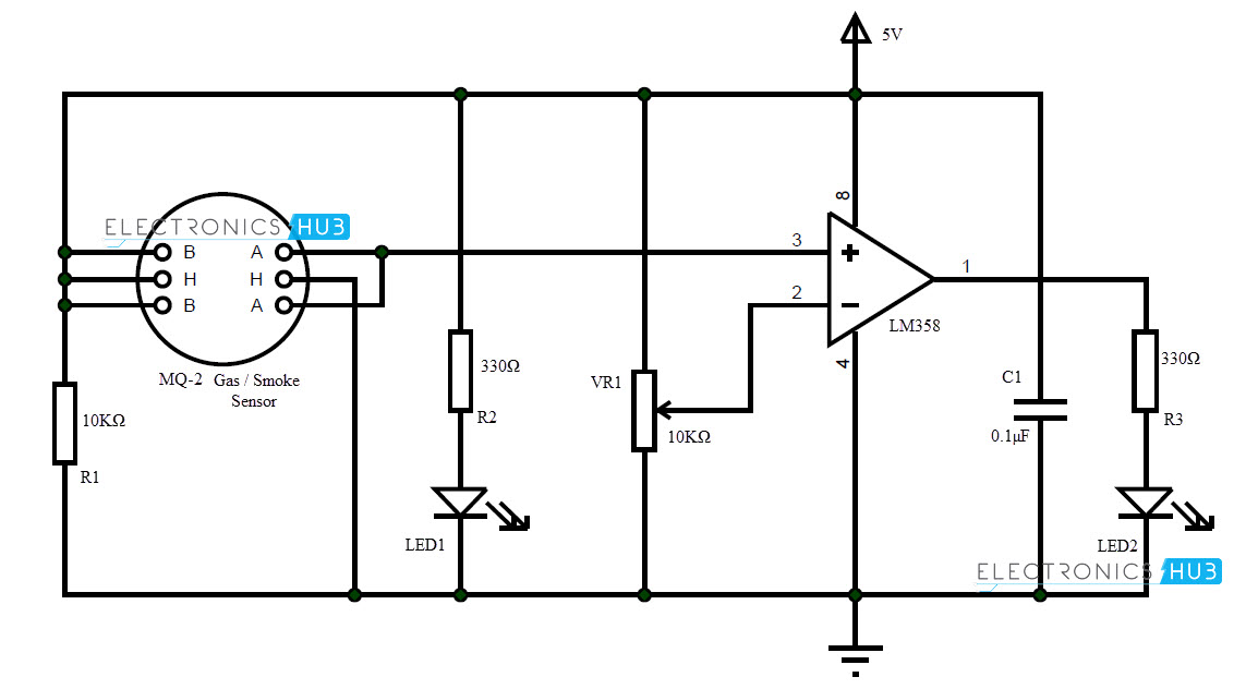 how to make smoke detector alarm circuit rh electronicshub org gas leakage detector circuit diagram gas leak detector circuit diagram