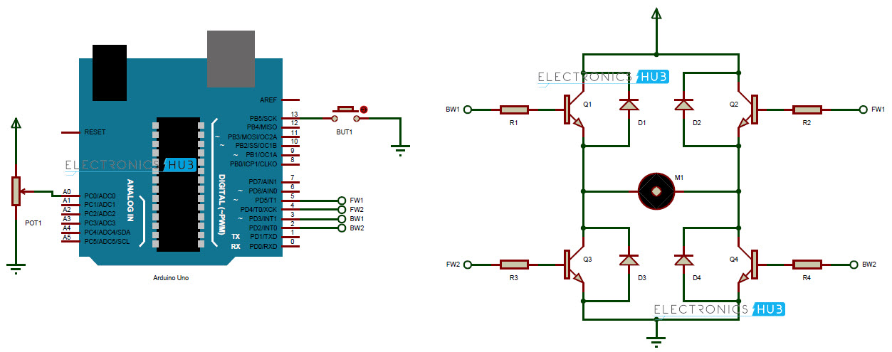 controlling speed and direction of dc motor using arduino rh electronicshub org