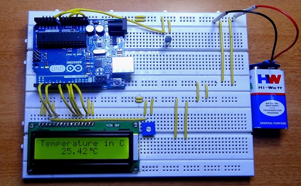 Arduino based digital thermometer output