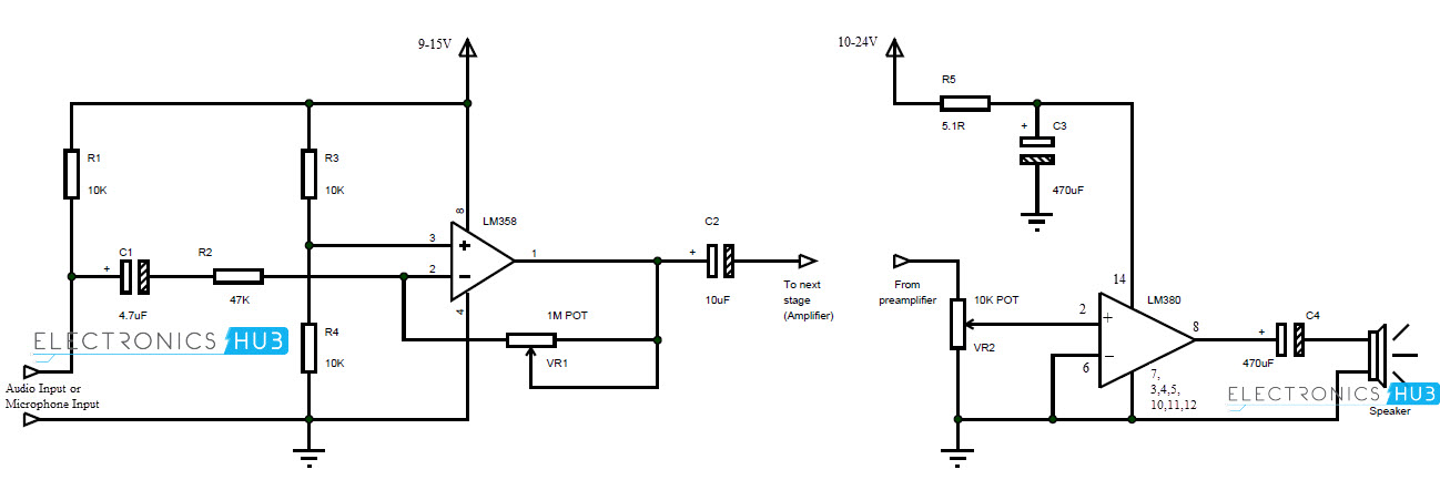 how to make microphone preamplifier rh electronicshub org microphone mixer circuit diagram microphone preamplifier circuit diagram