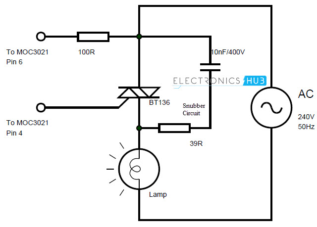 how to make solid state relay? [diy] bosch relay wiring diagram a snubber circuit is a series rc circuit used to suppress any spikes in voltage due to interruption in current a 39Ω resistor in series with 10nf 400v