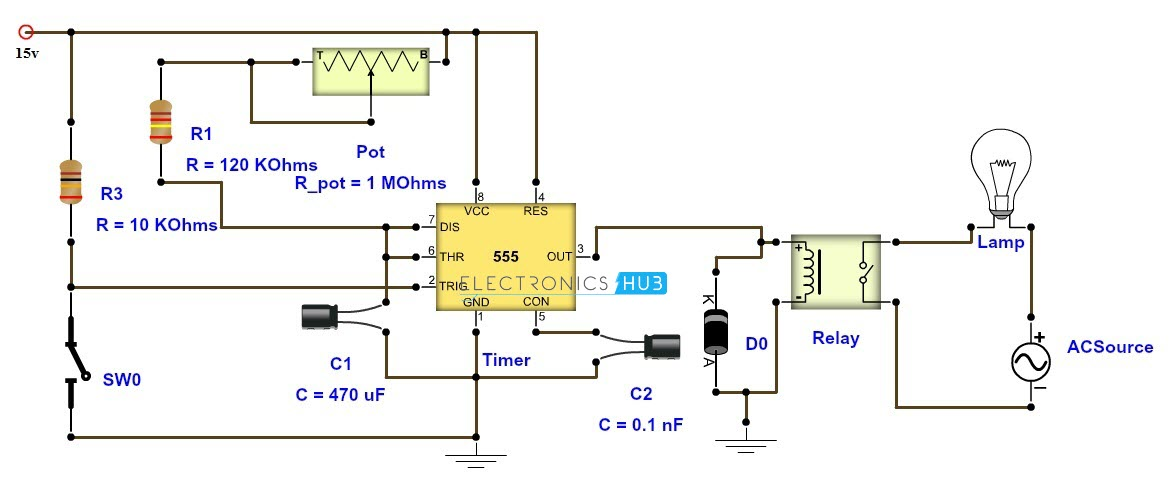 adjustable timer circuit diagram with relay output rh electronicshub org transistor timer circuit diagram cyclic timer circuit diagram