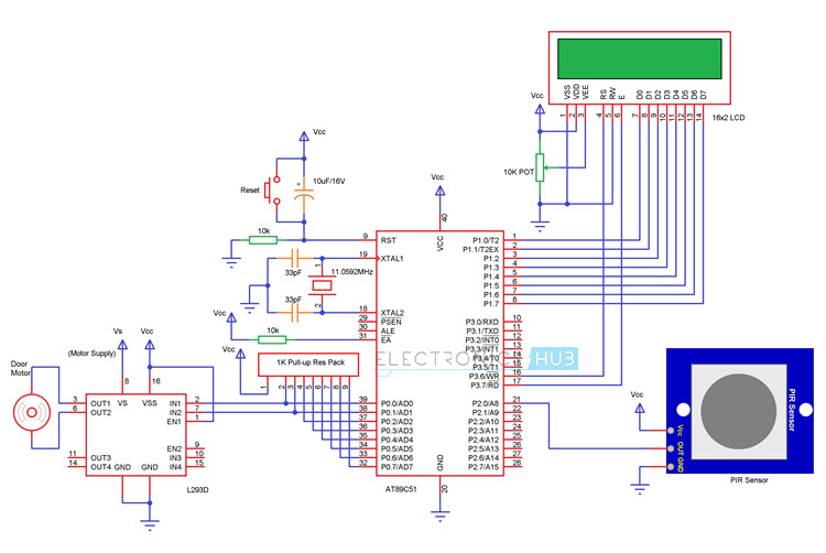 8051 Circuit Diagram | Automatic Door Opening System Using 8051 Microcontroller