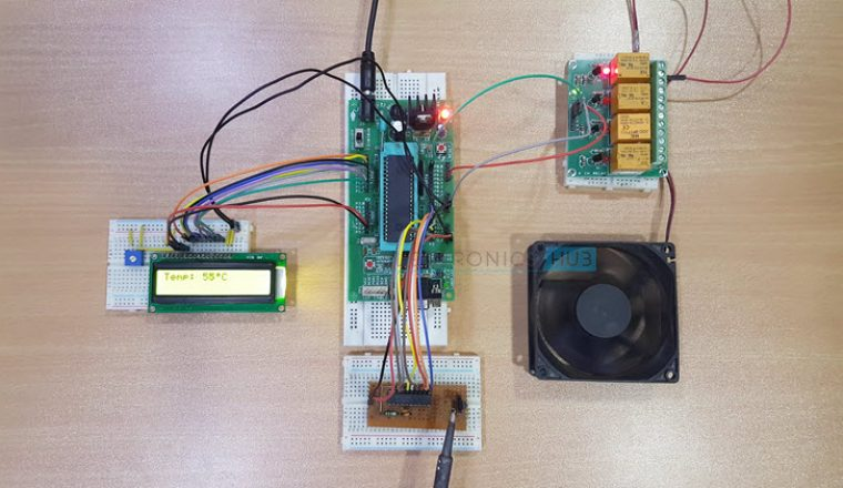 Temperature Controlled DC Fan using ATmega8 Microcontroller