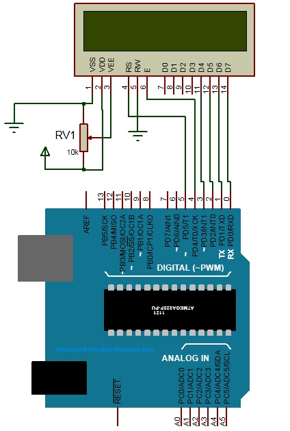 interfacing lcd with arduino circuit diagram potentiometer