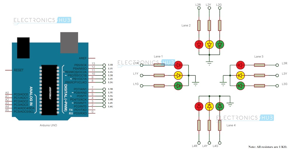 Traffic Signal Controller Circuit Diagram: Arduino Traffic Light Controllerrh:electronicshub.org,Design