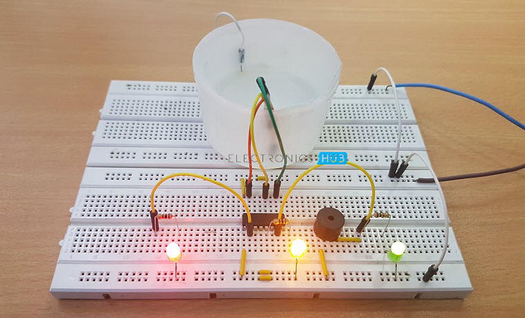 Simple Water Level Indicator With Alarm 3 Tested Circuits