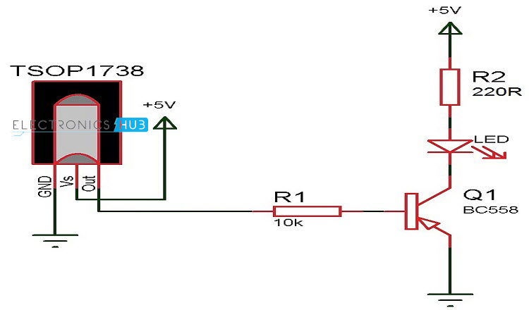 ir transmitter and receiver circuits rh electronicshub org ir receiver circuit diagram using tsop1738 long range ir transmitter and receiver circuit diagram