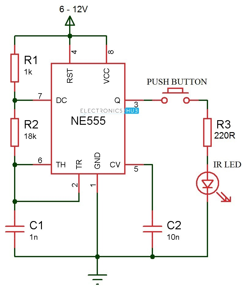 ir transmitter and receiver circuits rh electronicshub org infrared led circuit diagram infrared motion detector circuit diagram