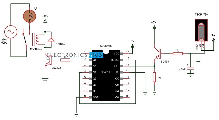 remote controlled light switch rh electronicshub org remote control circuit diagram pdf wireless remote control circuit diagram