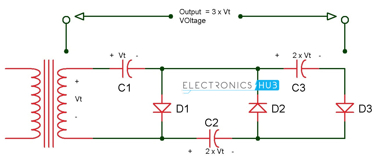 voltage doubler and voltage tripler circuits rh electronicshub org voltage doubler circuit diagram dc voltage multiplier circuit diagram