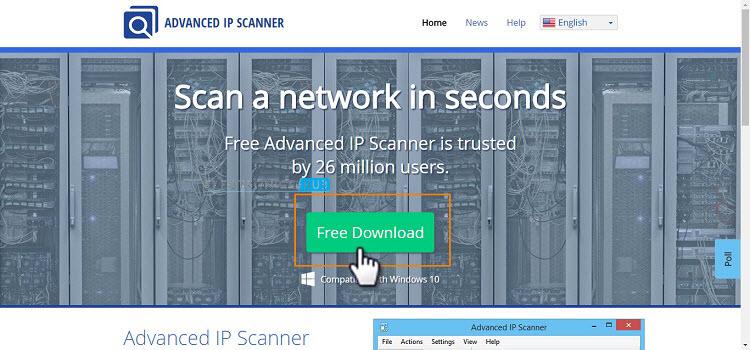 Página avanzada de descarga de escáner IP