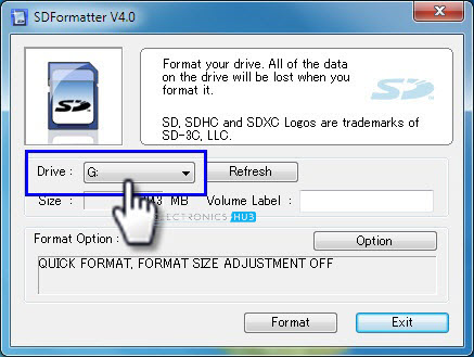 SD Card Formatter Drive Selection