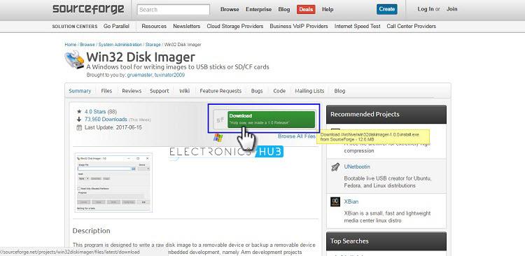 Página de descarga de Win32 Disk Imager