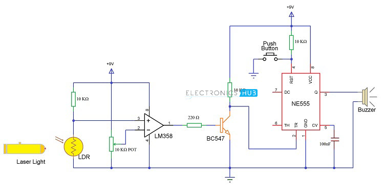 laser security system rh electronicshub org laser burner circuit diagram laser driver circuit diagram