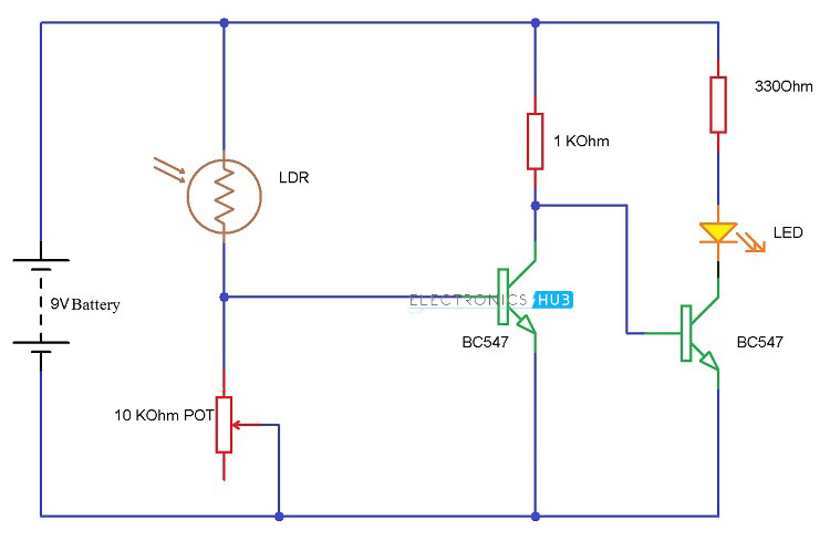 Light Detector using Transistors Circuit