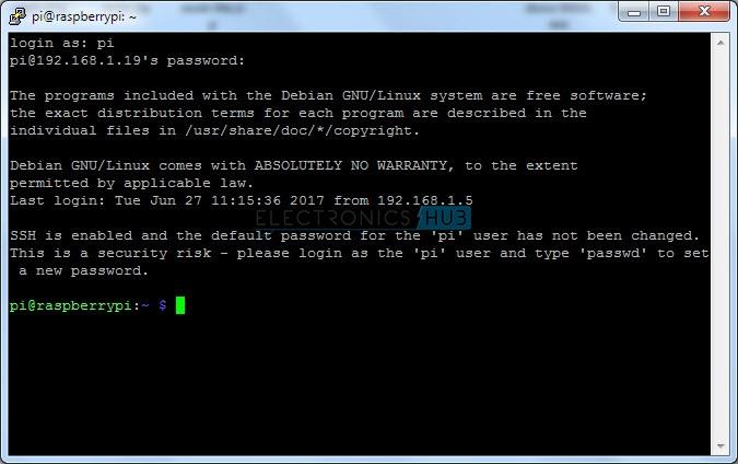 Raspberry Pi Default Login