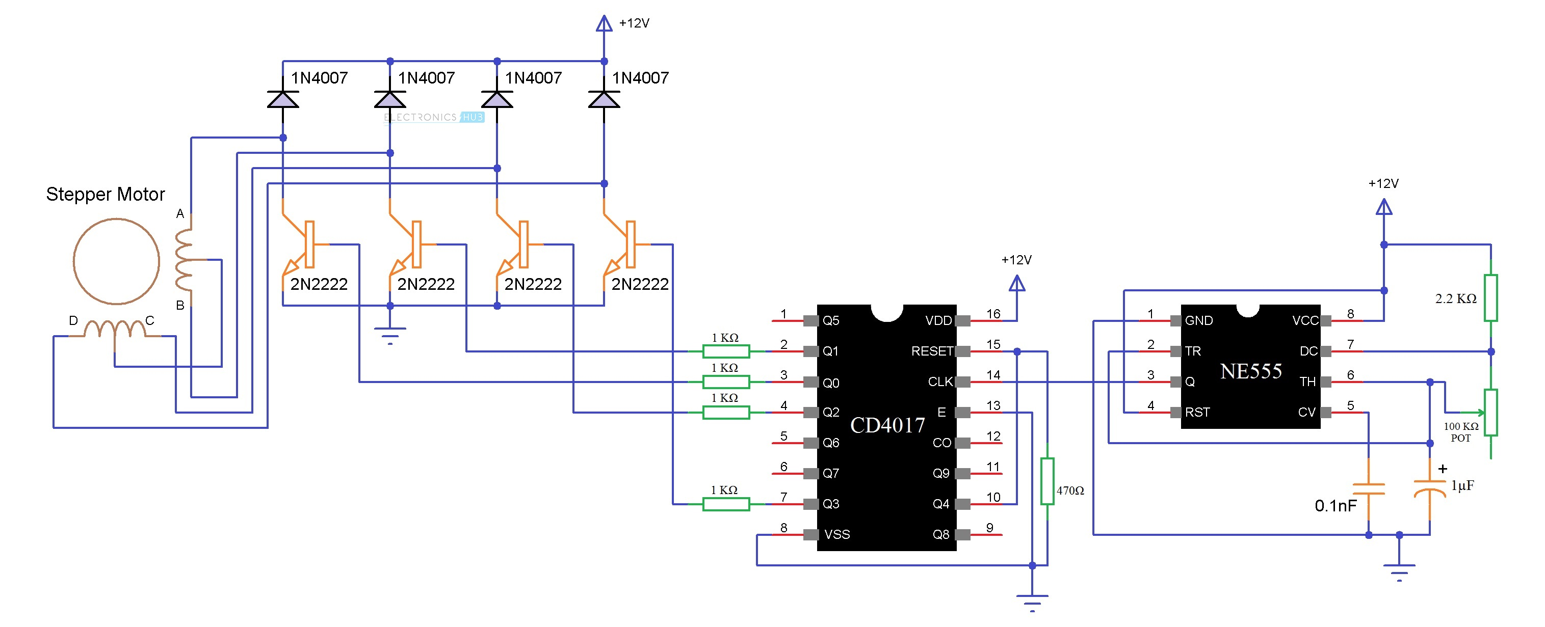 Stepper motor controller using 555 timer caferacer for Bipolar stepper motor driver circuit